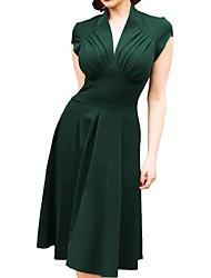 Недорогие -женское платье миди-лайн глубокое v красный черный зеленый s m l xl