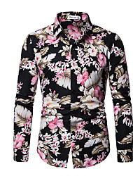 cheap -Men's Shirt - Floral Black XL