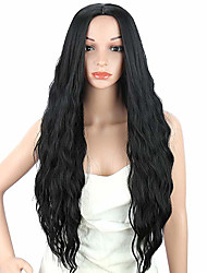 cheap -Cosplay Wig Loose Wave / Water Wave Style Side Part Capless Wig Black Natural Black Synthetic Hair 24 inch Women's Party / Synthetic / Easy dressing Black Wig Long Cosplay Wig / Yes