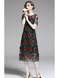 preiswerte -A-Linie Schmuck Tee-Länge Tüll Kleid mit Stickerei durch LAN TING Express