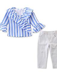tanie -Dzieci / Brzdąc Dla dziewczynek Aktywny / Podstawowy Prążki Falbana Długi rękaw Regularny Bawełna / Spandeks Komplet odzieży Niebieski