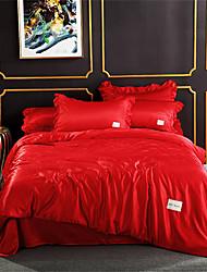 billige -Sengesett Ensfarget / Luksus Polyester Plisseret 4 delerBedding Sets
