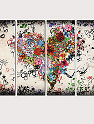halpa -Painettu Valssatut kangasjulisteet - Maisema Sydämet ja rakkaus Klassinen Moderni 4 paneeli