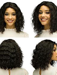 voordelige -Human Hair Capless Pruiken Echt haar Diepe Golf Bobkapsel / Middelste stuk Stijl Feest / Dames / Beste kwaliteit Kort Kanten Voorkant Pruik Braziliaans haar Dames