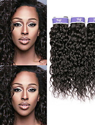cheap -3 Bundles Indian Hair Water Wave Virgin Human Hair 100% Remy Hair Weave Bundles Headpiece Natural Color Hair Weaves / Hair Bulk Bundle Hair 8-28 inch Natural Color Human Hair Weaves Odor Free Normal