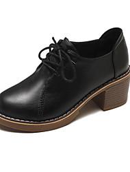 hesapli -Kadın's Ayakkabı PU Bahar Günlük Oxford Modeli Kalın Topuk Yuvarlak Uçlu Günlük için Siyah