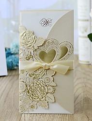 Недорогие -Открытка-карман Свадебные приглашения 10 шт. - Пригласительные билеты Цветочный стиль Розовая бумага 21.5*11.5 cm Атласный бант