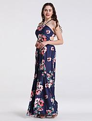 Χαμηλού Κόστους -γυναικείος maxi λεπτός λουρί φόρεμα swing μπλε s m l