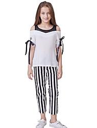 abordables -Enfants Fille Actif / Basique Bloc de Couleur Noeud / Lacet Demi Manches / Manches Courtes Normal Normal Coton Ensemble de Vêtements Blanc