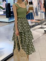 halpa -naisten midi ohut kaksiosainen mekko hihna sifonki vihreä yksi koko