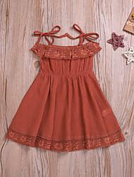 abordables -Bebé Chica Boho / Chic de Calle Un Color Encaje / Acordonado Sin Mangas Sobre la rodilla Algodón Vestido Naranja