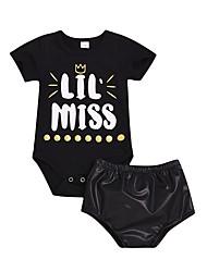 levne -Dítě Dívčí Aktivní / Základní Jednobarevné / Tisk Tisk Krátký rukáv Standardní Standardní Bavlna Sady oblečení Černá