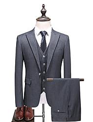 billige -Grå Stripet Slank Fasong Polyester Dress - Spiss Enkelt Brystet Enn-knapp