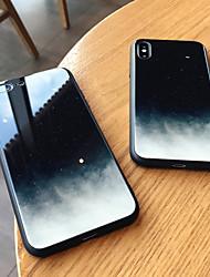 Недорогие -Кейс для Назначение Apple iPhone XS / iPhone XR / iPhone XS Max Зеркальная поверхность Кейс на заднюю панель Цвет неба Твердый Закаленное стекло