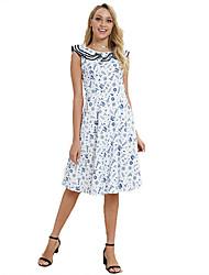 billige -kvinders knælængde slank en linje kjole blå s m l xl
