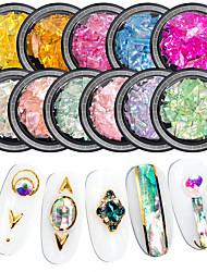 billige -1 pcs Bedste kvalitet / Slankt design Muslingeskal Pailletter Til Fingernegl Mode Negle kunst Manicure Pedicure Daglig Farverig