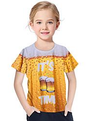 abordables -Enfants / Bébé Fille Actif / Basique Géométrique / Imprimé Imprimé Manches Courtes Polyester / Spandex Tee-shirts Jaune