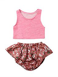 abordables -bébé Fille Actif / Basique Couleur Pleine / Fleur A Volants Sans Manches Court Coton Ensemble de Vêtements Rose Claire