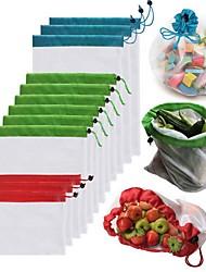 Недорогие -1 шт. Многоразовые сетки производят мешки моющиеся мешки для продуктовых магазинов хранения фруктов, овощей, игрушек всякой организатор сумка для хранения