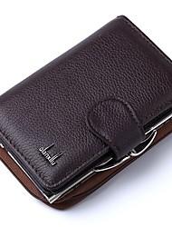 Недорогие -Универсальные Молнии Воловья кожа Бумажники Сплошной цвет Черный / Красный / Темно-коричневый