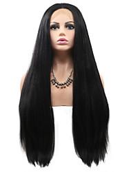 저렴한 -합성 레이스 프론트 가발 직진 스타일 레이어드 헤어컷 전면 레이스 가발 블랙 블랙 인조 합성 헤어 24 인치 여성용 클래식 / 여성 / 뜨거운 판매 블랙 가발 긴 Sylvia 130 % 인간의 머리카락 밀도 내츄럴 가발