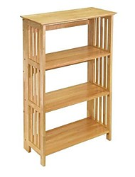 Недорогие -4-х полочные деревянные складные полки для хранения книг в натуральной отделке