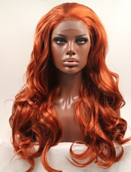 cheap -Synthetic Lace Front Wig Curly / Matte Style Layered Haircut Lace Front Wig Red Orange Synthetic Hair 24 inch Women's Normal / Women / Hot Sale Red Wig Long Sylvia 130% Density Cosplay Wig