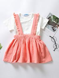 levne -Dítě Dívčí Základní Jednobarevné Plisé Krátký rukáv Standardní Standardní Bavlna Sady oblečení Bílá