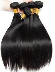 billige -6 Bundler Indisk hår Lige Ubehandlet Menneskehår 100% Remy Hair Weave Bundles Menneskehår, Bølget Udvidelse Bundle Hair 8-28 inch Sort Naturlig Farve Menneskehår Vævninger Lugtfri Blød Hot Salg