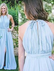 preiswerte -Halter Chiffon Brautjungfernkleid mit Vorne geschlitzt / Horizontal gerüscht / Plissee durch JUDY&JULIA