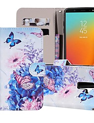 tanie -Kılıf Na Samsung Galaxy Galaxy J6(2018) / Galaxy J7(2018) Portfel / Etui na karty / Z podpórką Pełne etui Motyl / Kwiat Twardość Skóra PU na J8 (2018) / J7 (2017) / J7 (2018)