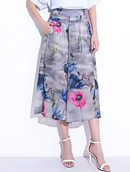 levne -Dámské Základní Široké nohavice Kalhoty - Květinový Černá