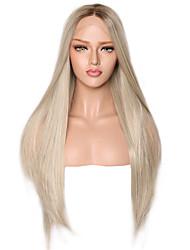 halpa -Synteettiset pitsireunan peruukit Suora Tyyli Keskiosa Lace Front Peruukki Hopea Ombre Color Synteettiset hiukset 18-24 inch Naisten Säädettävä / Heat Resistant / Party Hopea / Ombre Peruukki Pitkä