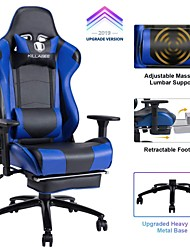 Недорогие -Killabee большой и высокий 350-фунтовый массажный игровой стул с эффектом памяти - регулируемая массажная подушка для поясницы, убирающаяся подставка для ног и 2-я рука ...