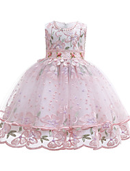 cheap -Kids / Toddler Girls' Vintage / Cute Solid Colored / Floral Lace / Beaded / Embroidered Sleeveless Knee-length Cotton / Polyester Dress Blushing Pink
