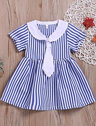 levne -Dítě Dívčí Základní Proužky Nabírané šaty Krátký rukáv Délka ke kolenům Bavlna Šaty Bílá