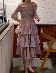 halpa -naisten polvipituinen löysä vaippa mekko pois punaista vihreää yhden kokoista