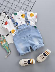 levne -Dítě Chlapecké Aktivní / Základní Tisk / Patchwork Šněrování / Tisk Krátký rukáv Standardní Standardní Bavlna Sady oblečení Vodní modrá