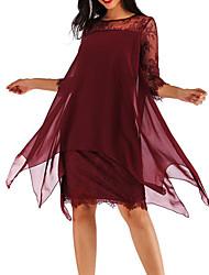 Недорогие -Жен. Большие размеры Хлопок Шифон Платье - Однотонный, Кружева До колена