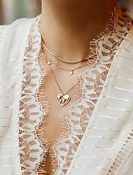 Недорогие -Жен. Ожерелья-бархатки Ожерелья с подвесками Слоистые ожерелья Двухслойные зонты Карты Сердце Простой Классика Винтаж европейский Хром Золотой 58+5 cm Ожерелье Бижутерия 3шт Назначение