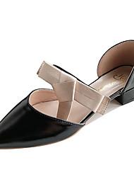 ราคาถูก -สำหรับผู้หญิง PU ฤดูใบไม้ผลิ ไม่เป็นทางการ รองเท้าส้นสูง ส้นต่ำ สีดำ / ผ้าขนสัตว์สีธรรมชาติ