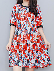 זול -מעל הברך דפוס, גיאומטרי - שמלה גזרת A סגנון רחוב אלגנטית בגדי ריקוד נשים