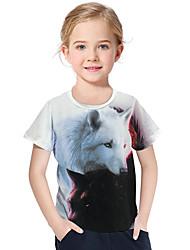 abordables -Enfants / Bébé Fille Actif / Basique Géométrique / Imprimé Imprimé Manches Courtes Polyester / Spandex Tee-shirts Blanc