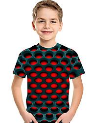 abordables -Enfants / Bébé Garçon Actif / Basique Géométrique / Imprimé Imprimé Manches Courtes Polyester / Spandex Tee-shirts Rouge