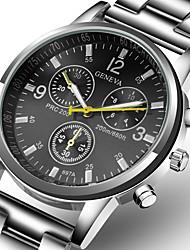 Недорогие -Муж. Нарядные часы Кварцевый Нержавеющая сталь Серебристый металл Повседневные часы Аналоговый Мода - Белый Черный Один год Срок службы батареи