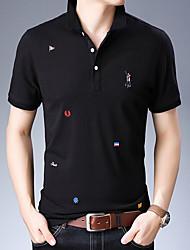 Недорогие -Муж. Вышивка Polo Хлопок, Рубашечный воротник Однотонный Черный