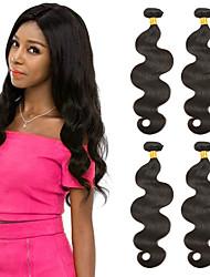 billige -4 pakker Brasiliansk hår Krop Bølge Ubehandlet Menneskehår 100% Remy Hair Weave Bundles Hovedstykke Bundle Hair Hårforlængelse af menneskehår 8-28 inch Naturlig Farve Menneskehår Vævninger Silkeagtig