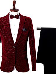 abordables -Bordeaux Avec motifs Coupe Slim Nylon Costume - Cranté Droit 1 bouton