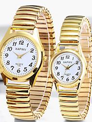 hesapli -Çiftlerin Elbise Saat Quartz Paslanmaz Çelik Gümüş / Altın Rengi 30 m Su Resisdansı Yeni Dizayn Gündelik Saatler Analog Günlük Moda - Altın Gümüş Bir yıl Pil Ömrü
