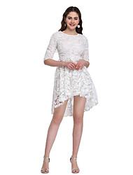 billige -kvinders asymmetriske slanke swing kjole hvid s m l xl